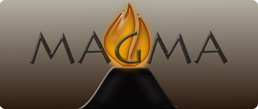 MAGMA logo: a volcano with a fire fountain based on the Caltech logo