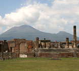 Thumbnail: the forum at Pompeii, with Vesuvius in the background
