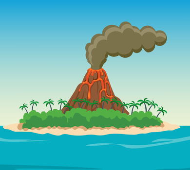 Volcano island with palm trees